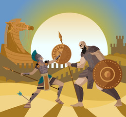 troy trojan horse scene and achilles fighting a warrior