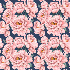 Papiers peints Fleurs Vintage Seamless pattern pink Paeonia vintage flowers background.Vector illustration hand drawn watercolor style.