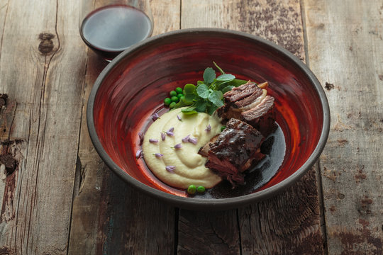 Delicious beef short ribs and mashed potato