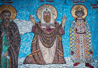 Fragment of mosaic with Saint Tryphon in Tolga Monastery