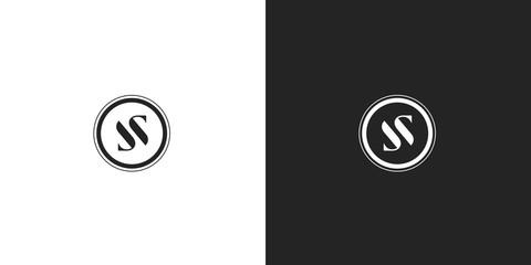 Black and white premium round SS monogram logo