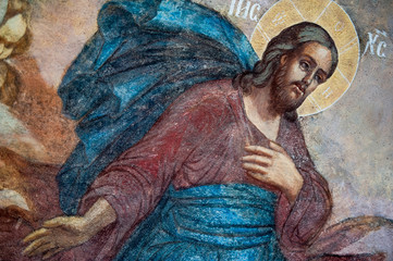 Fragment of the mural painting of Jesus Christ in Tolga Monastery