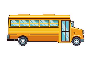 school bus icon cartoon isolated