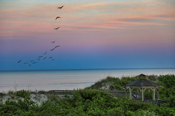 Birds fly over the ocean in the Outer Banks at sunset.  This is a beautiful beach vacation travel image of the OBX.