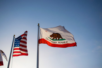 american flag and California state flag