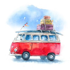 Watercolor illustration with a hippie bus,  travel and adventure