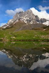 Lake near the Chaukhi Mountain. Caucasus, Georgia