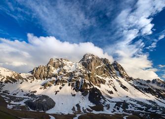 Chaukhi Mountain in sunny day. Georgia, Caucasus