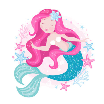 Badges. Beautiful mermaid for t shirts and fabrics or kids fashion artworks, children books. Fashion illustration drawing in modern style. Cute Mermaid. Girl print