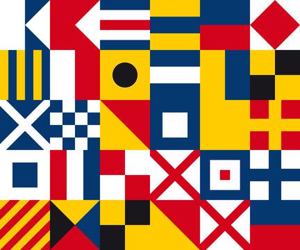 Vector seamless international marine flags texture - decor.