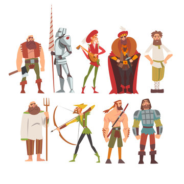 Medieval Historical Cartoon Characters in Traditional Costumes Set, Peasant, Warrior, Nobleman, Archer, Musician, Peasant Vector Illustration