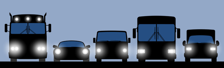 Transportation banner with truck, car, bus and lorry