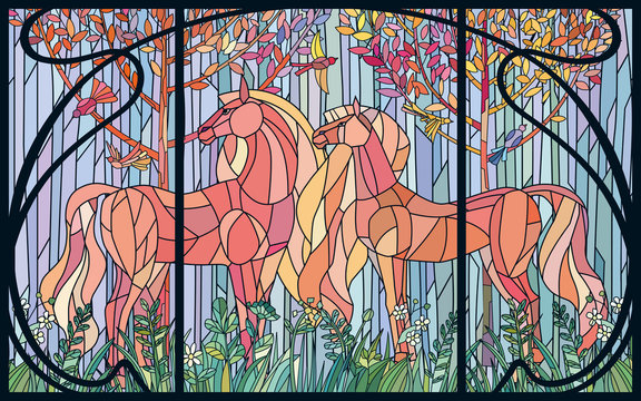 Stained glass horses of color patches in the frame of Art Nouveau style. Imitation colored glass