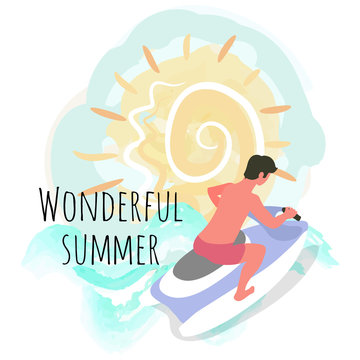 Wonderful summer vector, man on water motor flat style. Person having good summertime vacation, man on jet ski riding extreme sports and hobby, practice