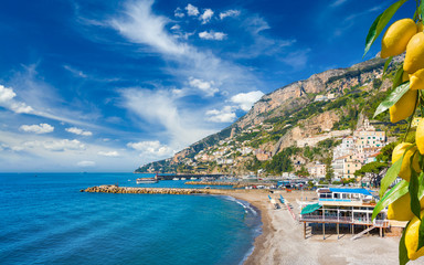 Beautiful seaside town Amalfi in province of Salerno, Campania, Italy Wall mural