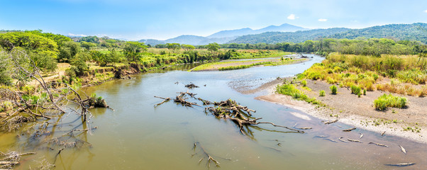 Wall Mural - Panoramic view at the River Tarcoles from Crocodile Bridge in Costa Rica