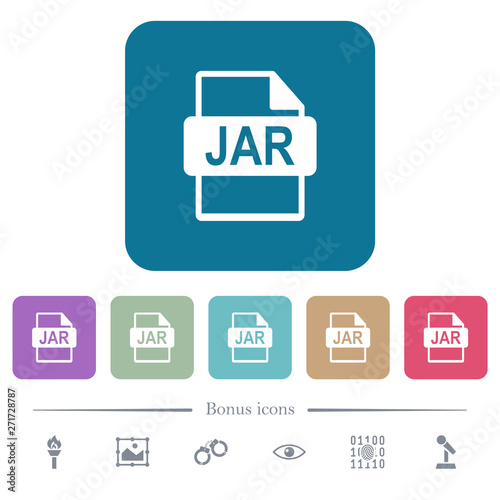 JAR file format flat icons on color rounded square