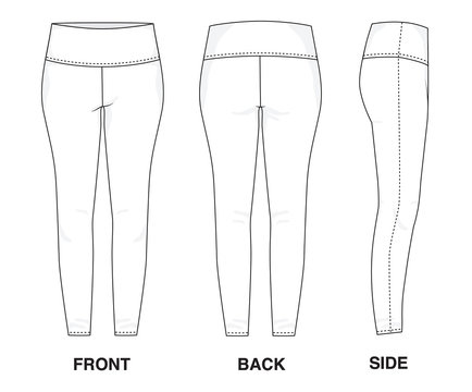 Isolated Trouser Pants Leggings object of clothes and fashion stylish wear fill in blank trouser. Regular Leg Casual Sports Illustration Vector Template. Front, back and side view
