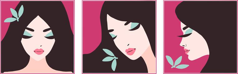 Stylish beautiful model for eco fashion and beauty design. Art deco graphic illustration. Portrait of pretty girl.