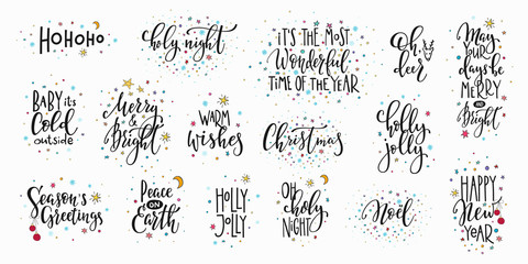 Poster Positive Typography Christmas new year lettering typography set