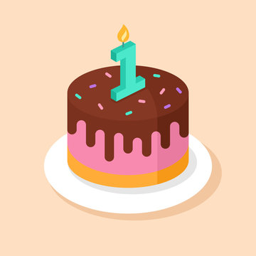 First Birthday cake. Vector illustration with festive cake and  candle number 1