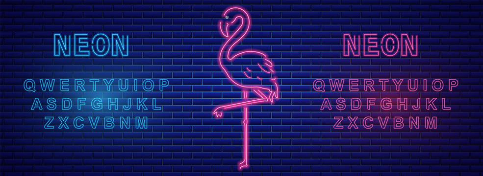 Neon flamingos banner with neon alphabet Vector. Label text signs posters