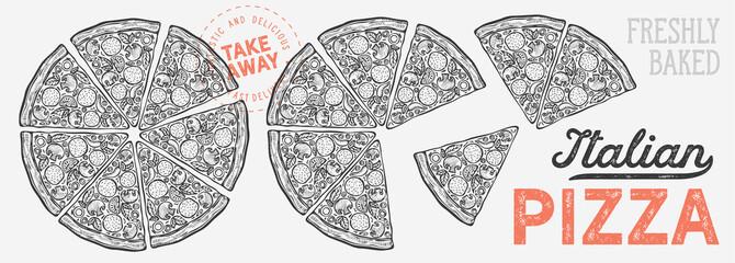 Pizza illustration graphic for italian cuisine restaurant