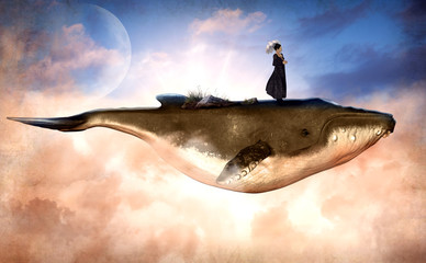 Surreal Flying Humpback Whale and a Woman on Top Wall mural