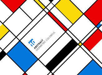 Abstract geometric colorful pattern for continuous replicate with lines on white background.