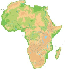 High detailed Africa physical map.