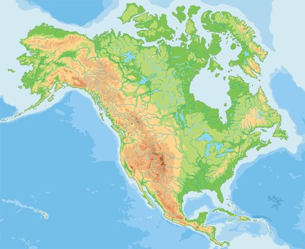 High detailed North America physical map.