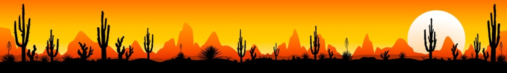 Panorama of the Mexican desert with cacti. Sunset in the Mexican desert. Silhouettes of stones, cacti and plants. Desert landscape with cacti. The stony desert Wall mural