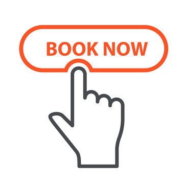 Finger press Book Now button - booking and online reservation icon