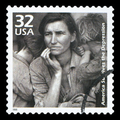 UNITED STATES OF AMERICA - CIRCA 1998: A postage stamp printed in USA showing an image of a mother with her children during the Great Depression, circa 1998.