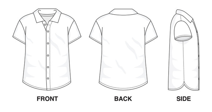 Isolated Button up Blouse object of clothes and fashion stylish wear fill in blank shirt. Regular Polo Neck Short Sleeves Illustration Vector Template. Front, back and side view