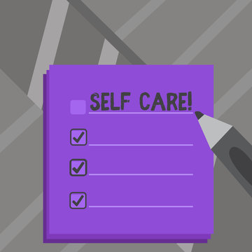 Handwriting text Self Care. Conceptual photo practice of taking action to preserve or improve ones own health Blank Colorful To Do Check List Planner Sheets with Tick Box and Marker Pen