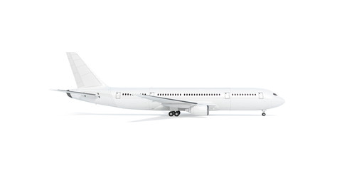 Blank white airplane mock up stand, profile, isolated Fototapete