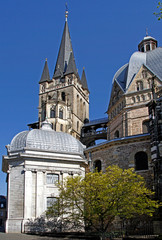 huge gothic cathedral in german city Aachen