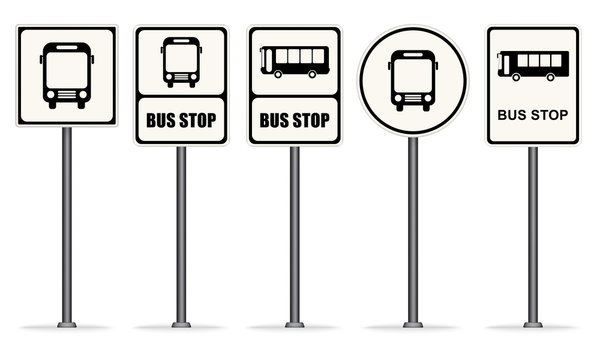 Set of white bus stop signs vector ESP10