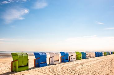 hooded beach chairs Wall mural