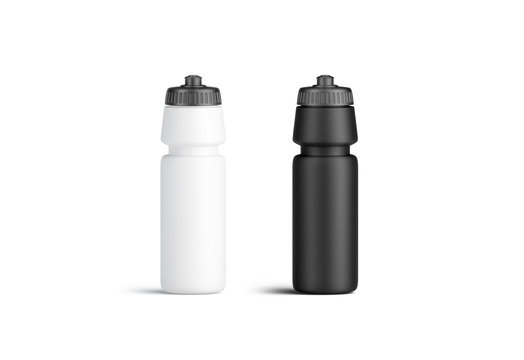 Blank black and white plastic sport bottle mock up, front view, isolated, 3d rendering. Clear reusable container with grey cap. Clean fitness flask in gym. Empty cycling botle for travel template.