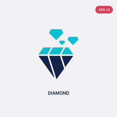two color diamond vector icon from customer service concept. isolated blue diamond vector sign symbol can be use for web, mobile and logo. eps 10