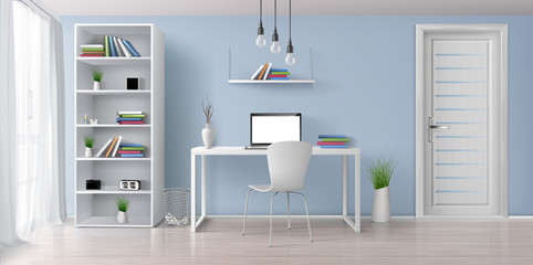 Home office sunny room with simple, white furniture 3d realistic vector interior background. Laptop with blank screen on work desk, bookshelf on blue wall, rack with clock and flowerpots illustration