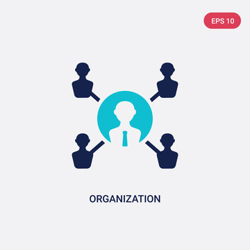 two color organization vector icon from digital economy concept. isolated blue organization vector sign symbol can be use for web, mobile and logo. eps 10