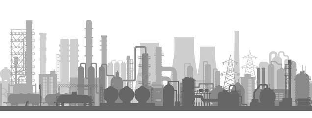 Stock vector illustration of an industrial zone with chemical factories, plants, ironworks, warehouses, enterprises. Background  in the flat style  Fototapete