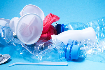 Close up image of a recycling plastic. Zero waste concept.