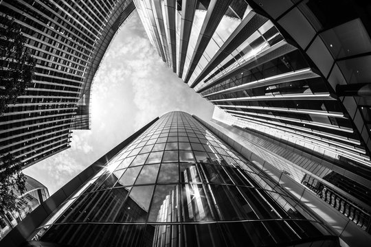 A wideangle image of London City offices