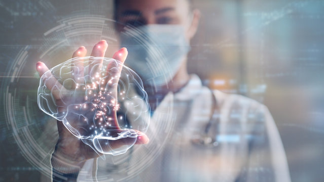 Portrait of female futuristic doctor is using latest innovative technology with augmented reality holograms for viewing patient's diagnosis in modern laboratory.