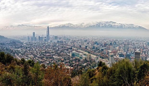 View of Santiago from San Cristobal Hill (Cerro San Cristobal), Santaigo, Chile