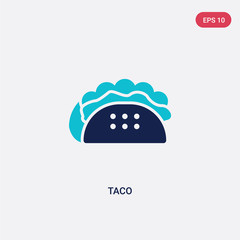 two color taco vector icon from fast food concept. isolated blue taco vector sign symbol can be use for web, mobile and logo. eps 10